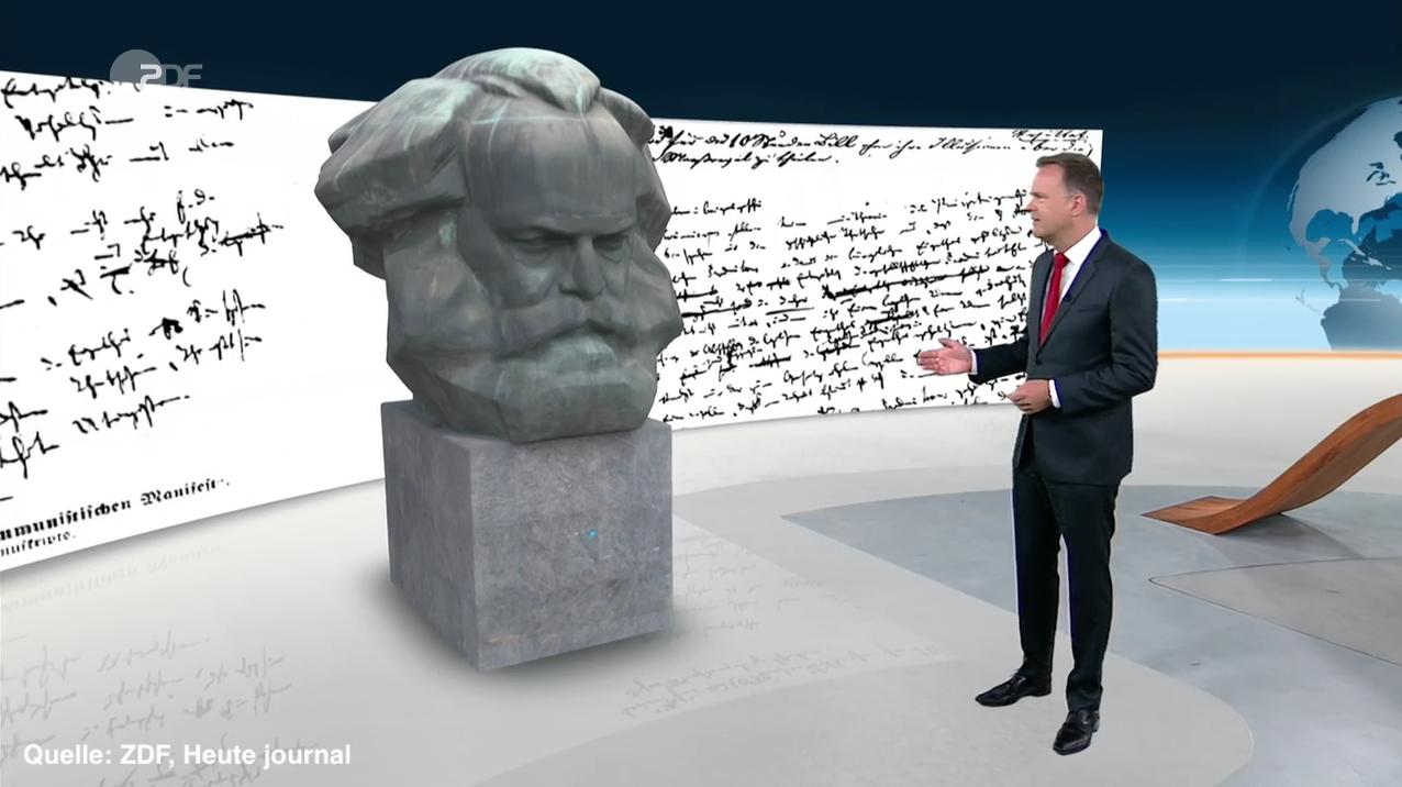 Karl Marx Kopf im Heute Journal ZDF